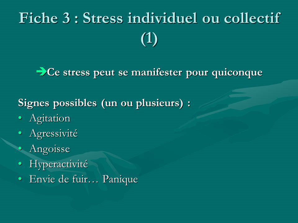 Fiche 3 : Stress individuel ou collectif (1)