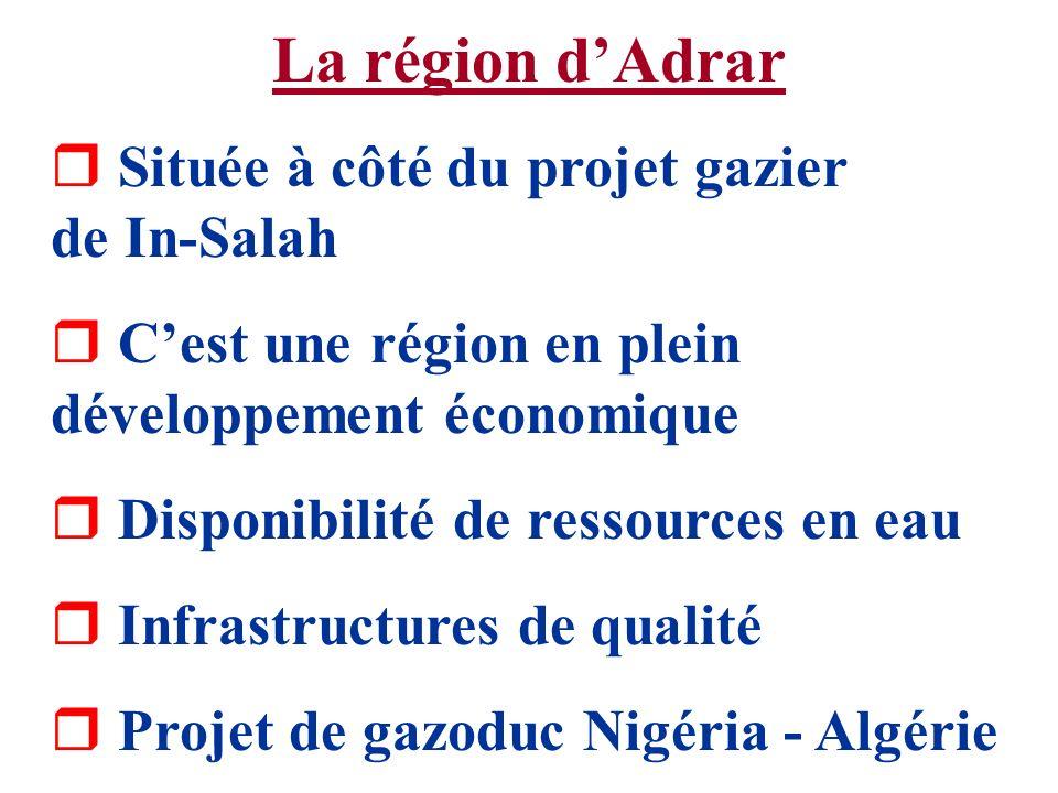 La région d'Adrar Située à côté du projet gazier de In-Salah
