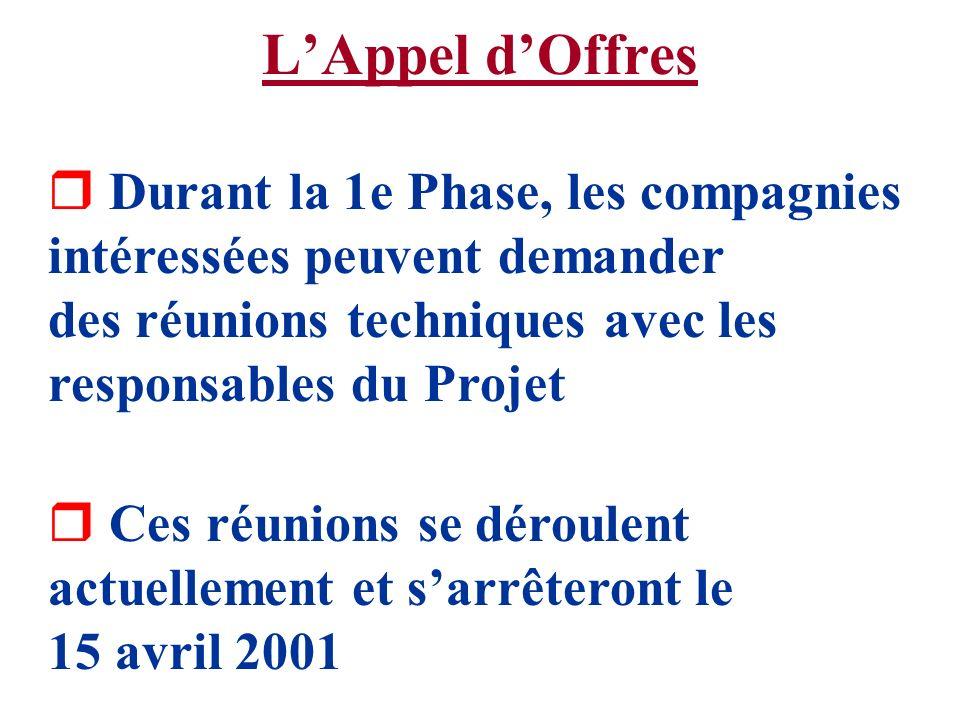 L'Appel d'Offres Durant la 1e Phase, les compagnies intéressées peuvent demander des réunions techniques avec les responsables du Projet.