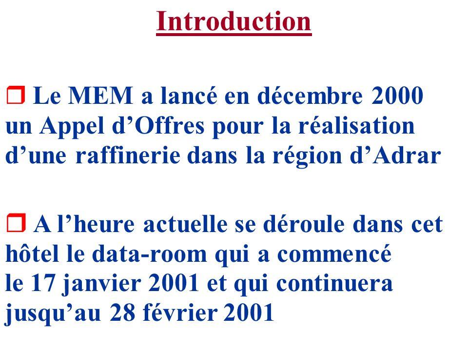 Introduction Le MEM a lancé en décembre 2000 un Appel d'Offres pour la réalisation d'une raffinerie dans la région d'Adrar.
