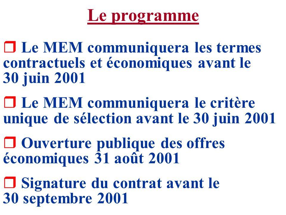 Le programme Le MEM communiquera les termes contractuels et économiques avant le 30 juin 2001.
