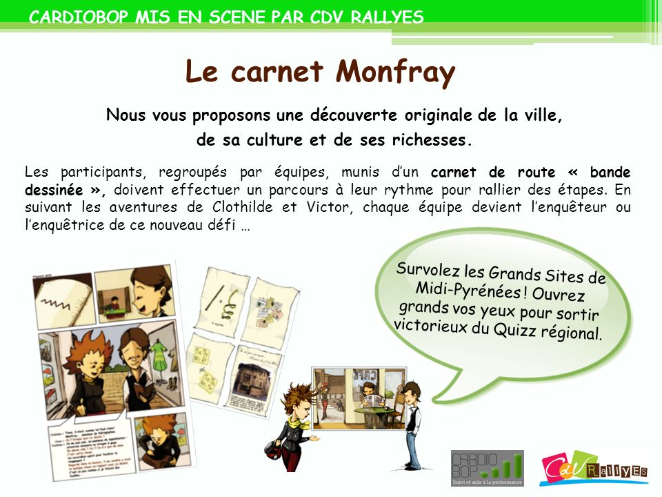 Le carnet Monfray CARDIOBOP MIS EN SCENE PAR CDV RALLYES
