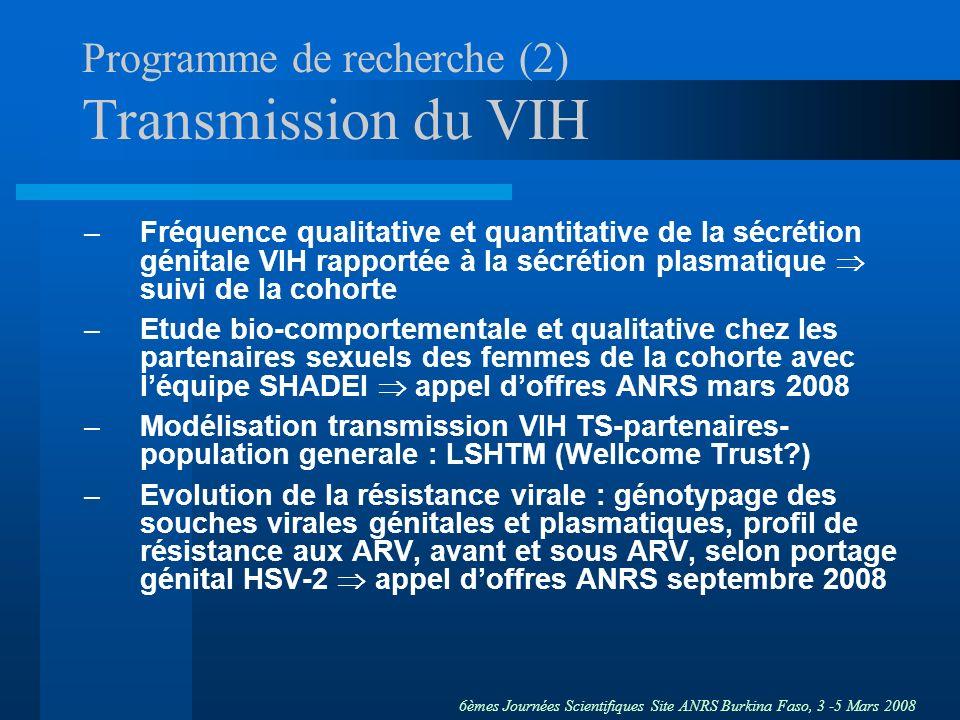 Programme de recherche (2) Transmission du VIH