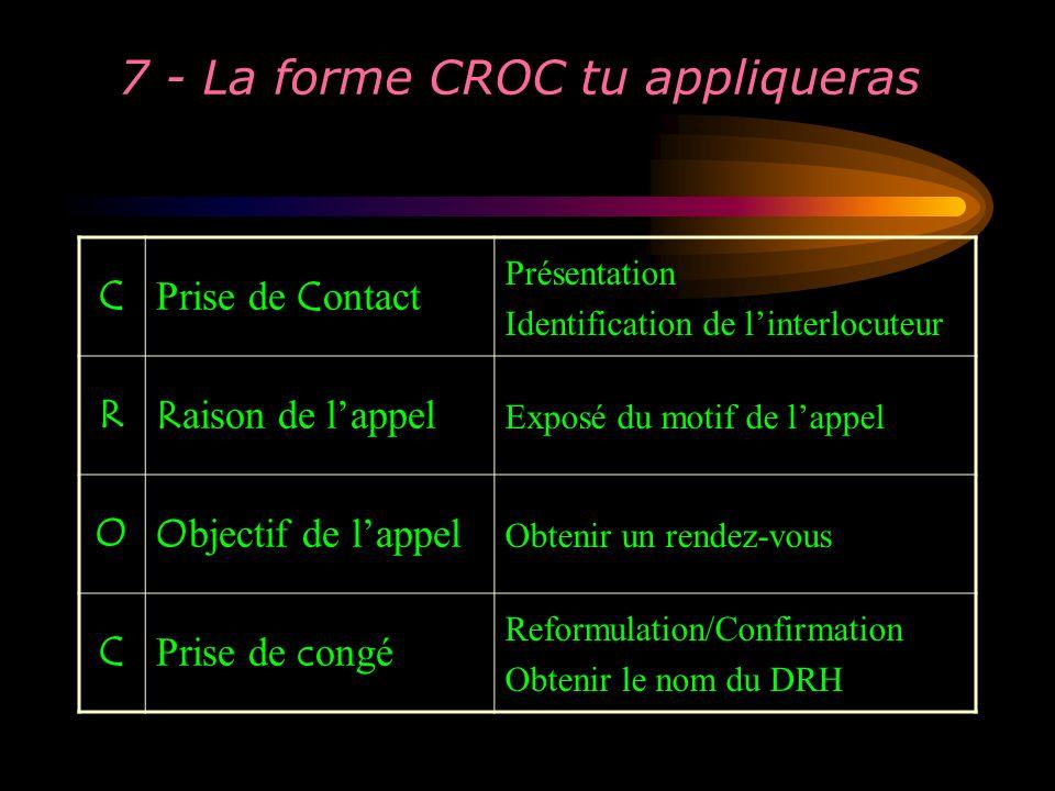 7 - La forme CROC tu appliqueras