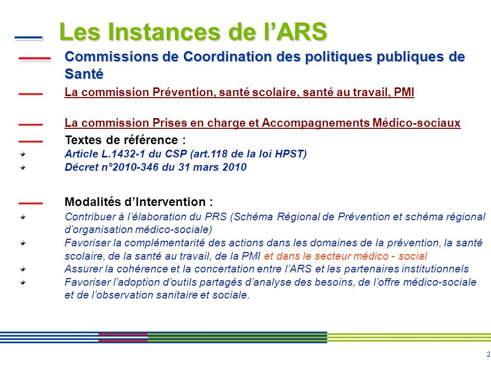 Les Instances de l'ARS Commissions de Coordination des politiques publiques de Santé.