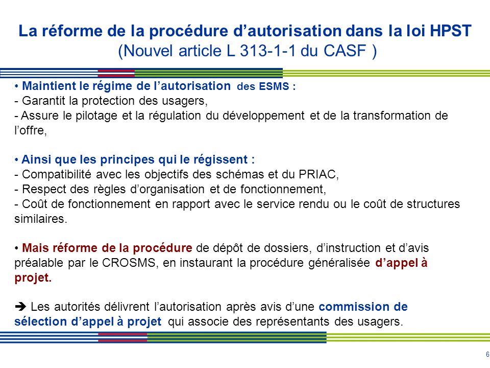 La réforme de la procédure d'autorisation dans la loi HPST