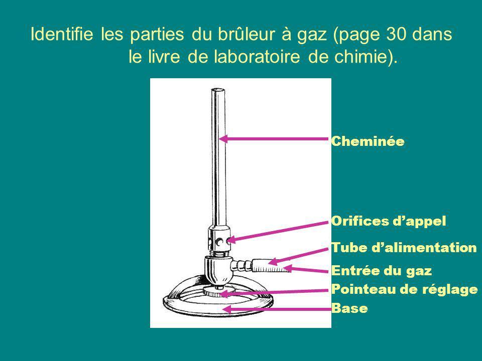 Identifie les parties du brûleur à gaz (page 30 dans le livre de laboratoire de chimie).
