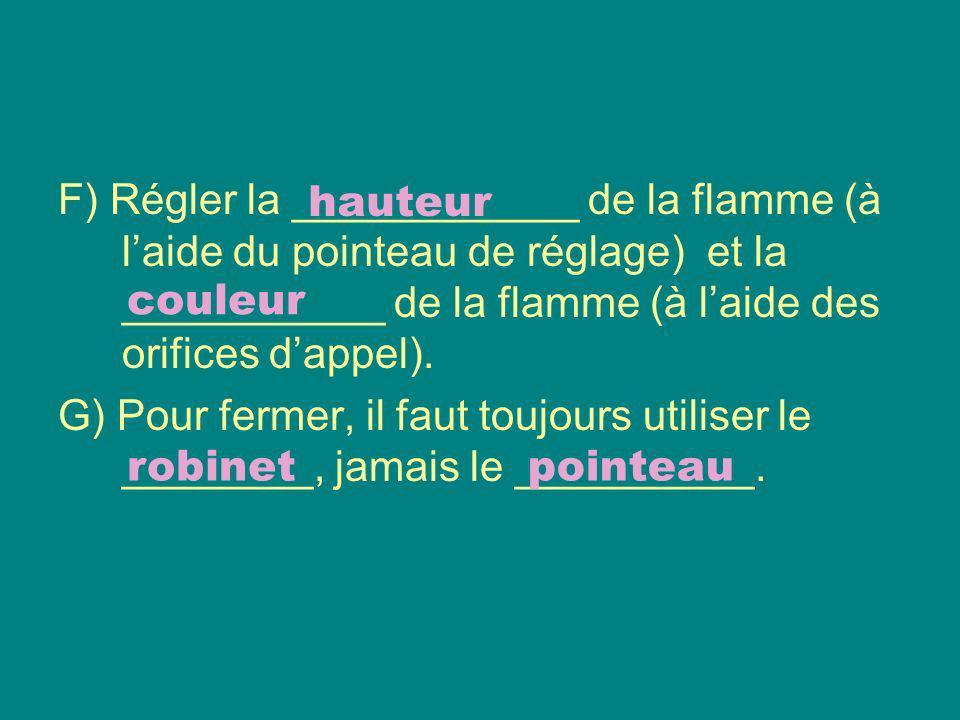 F) Régler la ____________ de la flamme (à l'aide du pointeau de réglage) et la ___________ de la flamme (à l'aide des orifices d'appel).