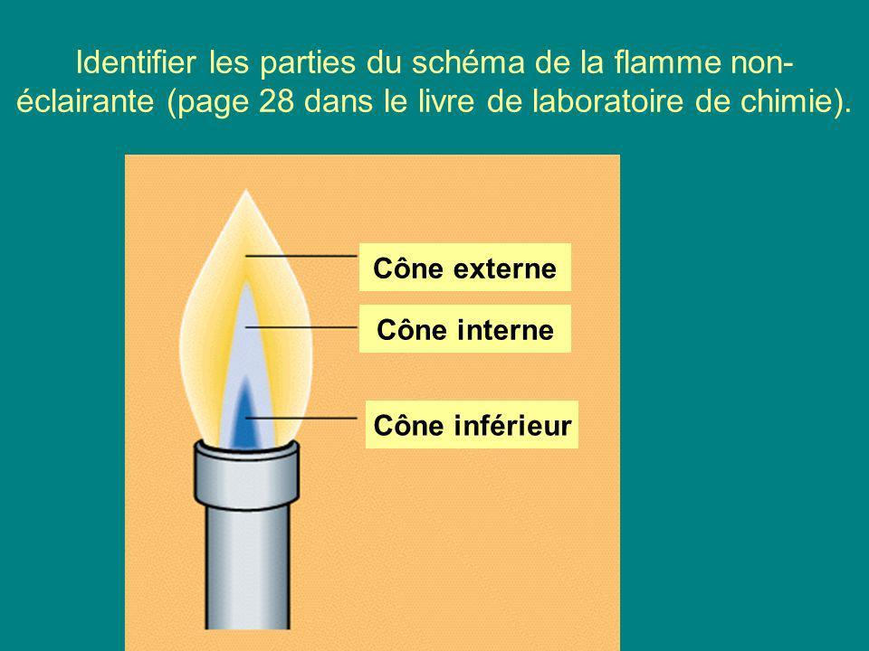 Identifier les parties du schéma de la flamme non-éclairante (page 28 dans le livre de laboratoire de chimie).