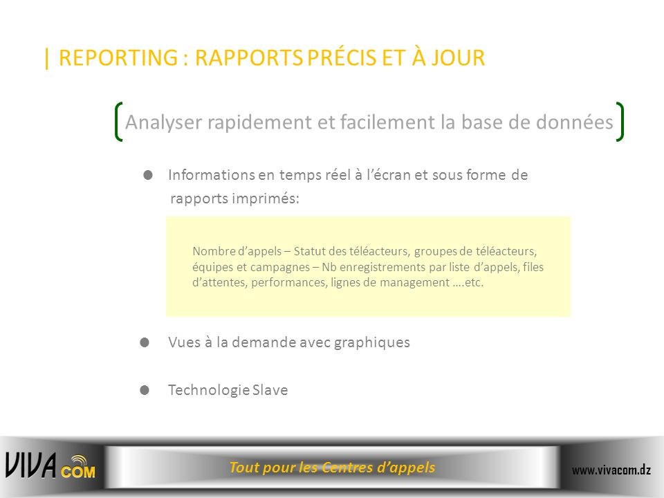 | REPORTING : RAPPORTS PRÉCIS ET À JOUR