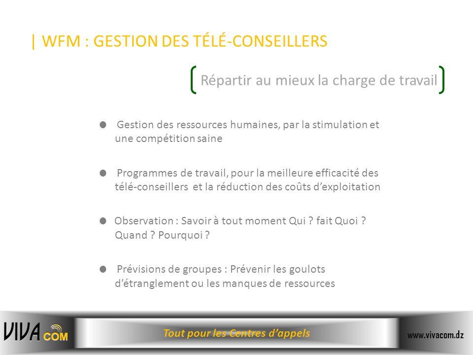 | WFM : GESTION DES TÉLÉ-CONSEILLERS