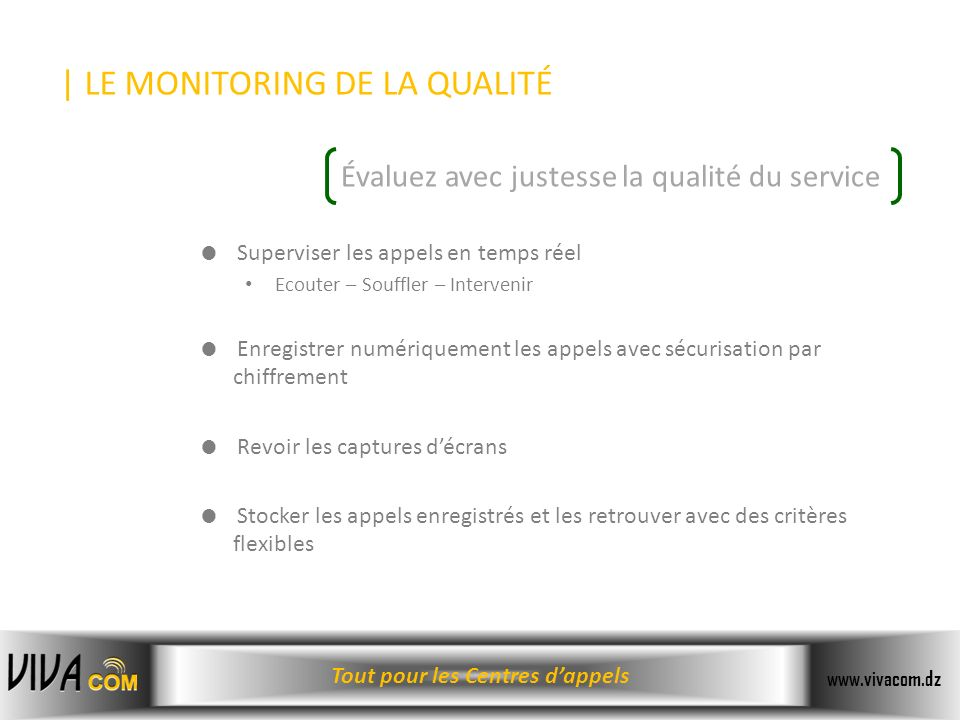 | LE MONITORING DE LA QUALITÉ