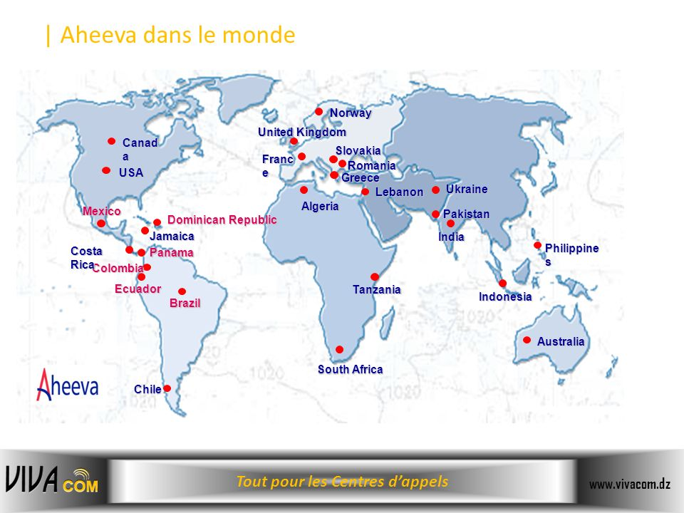 | Aheeva dans le monde Norway United Kingdom Canada Slovakia France
