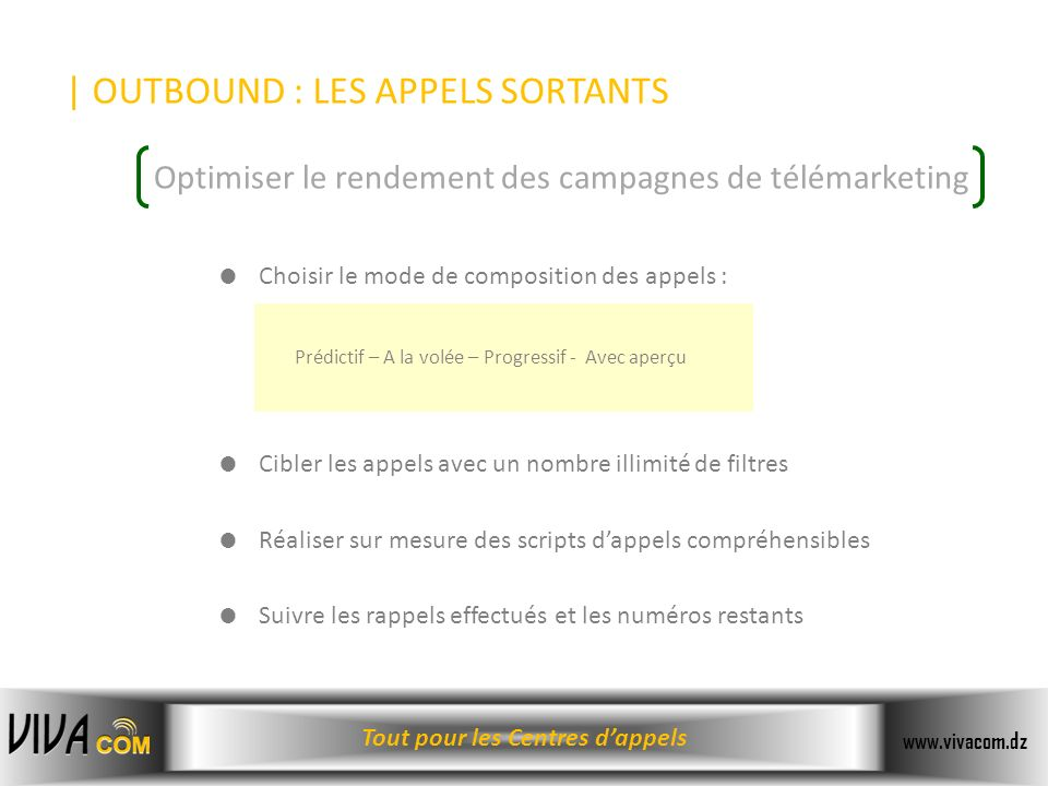 | OUTBOUND : LES APPELS SORTANTS