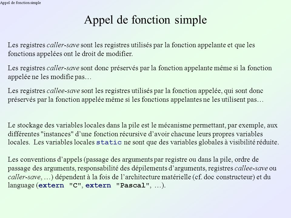 Appel de fonction simple