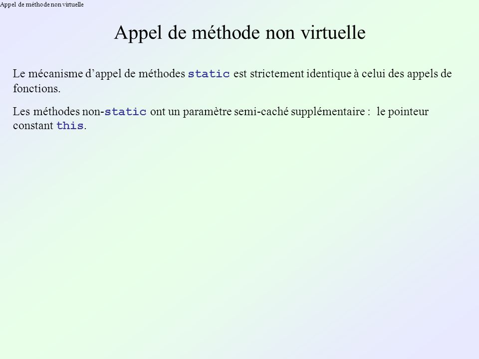 Appel de méthode non virtuelle
