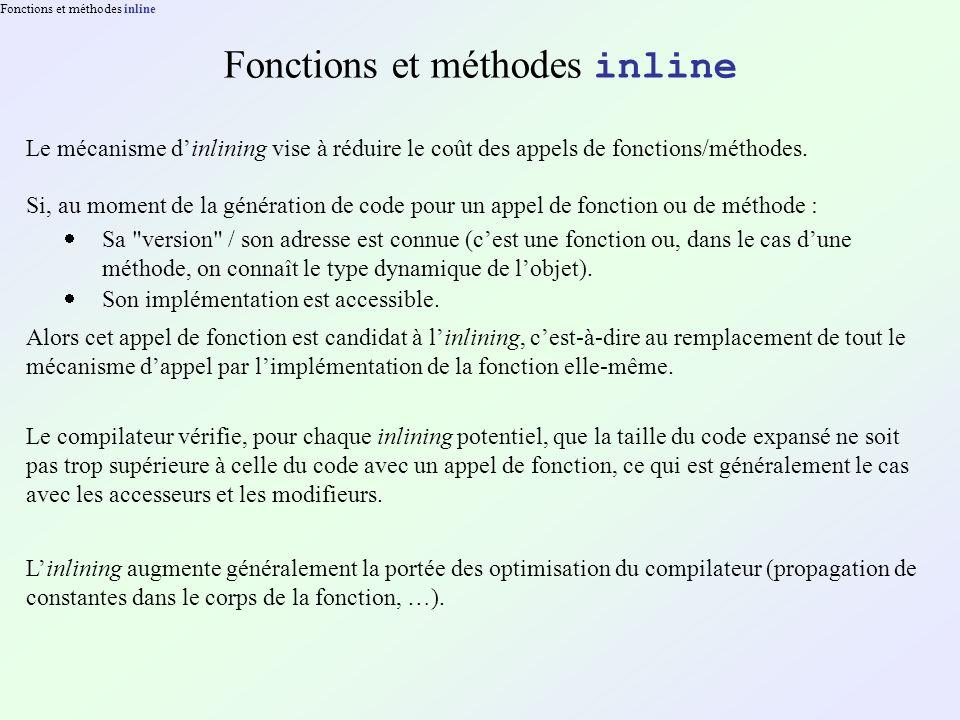 Fonctions et méthodes inline