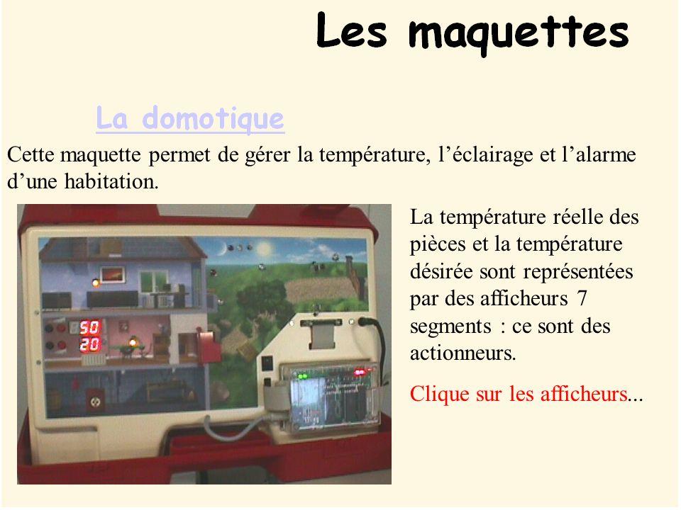 Cette maquette permet de gérer la température, l'éclairage et l'alarme d'une habitation.