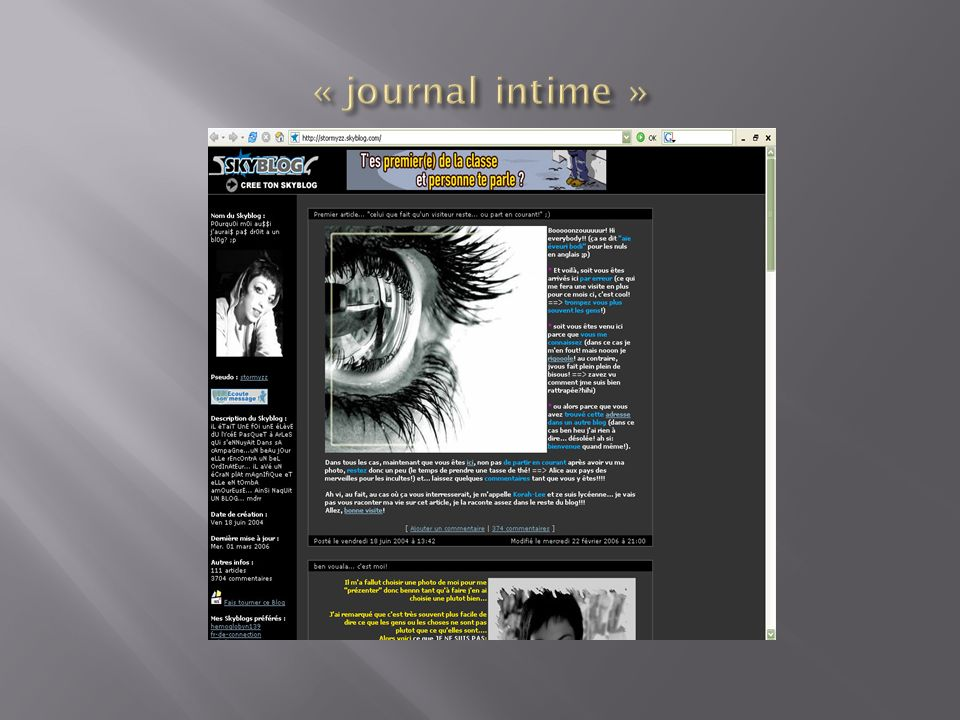 « journal intime »