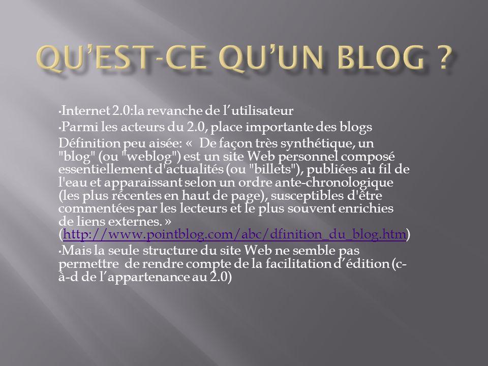 Qu'est-ce qu'un blog Internet 2.0:la revanche de l'utilisateur
