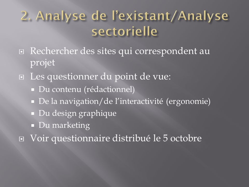 2. Analyse de l'existant/Analyse sectorielle