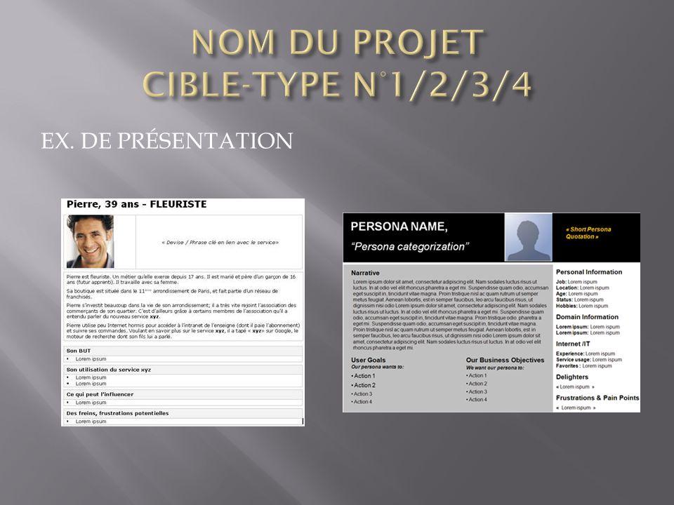 NOM DU PROJET CIBLE-TYPE N°1/2/3/4