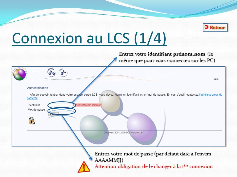 Connexion au LCS (1/4) Entrez votre identifiant prénom.nom (le même que pour vous connectez sur les PC)