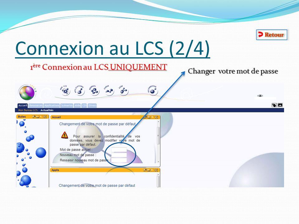 Connexion au LCS (2/4) 1ère Connexion au LCS UNIQUEMENT
