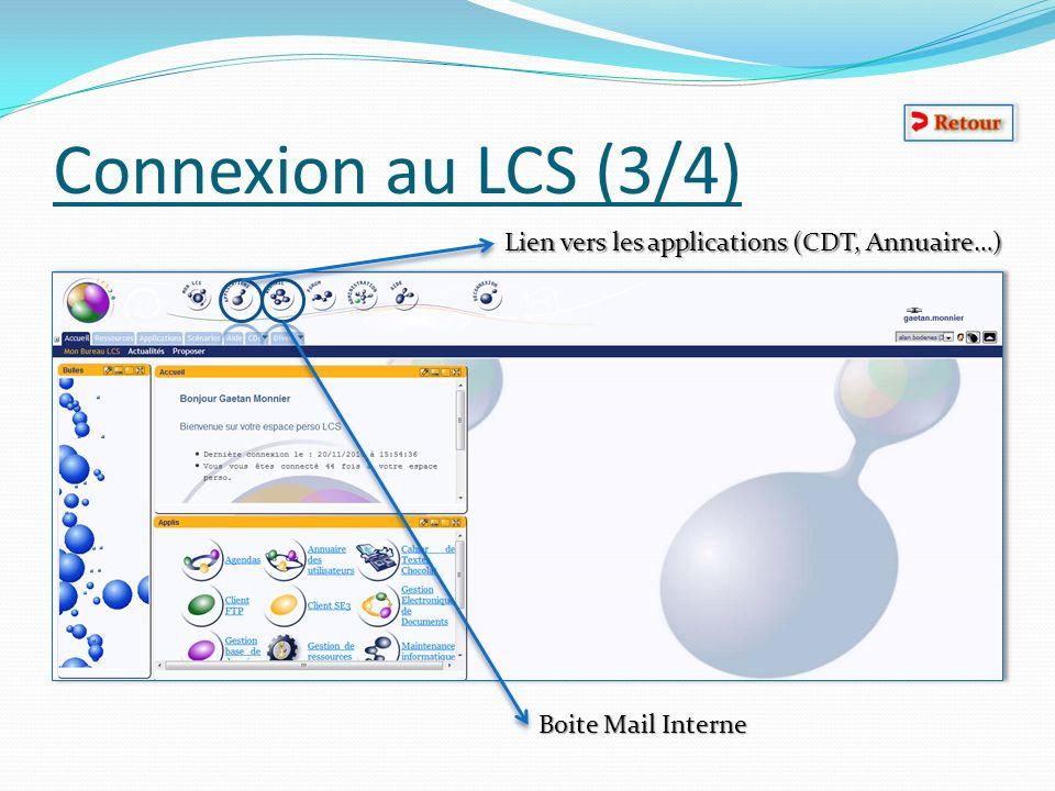 Connexion au LCS (3/4) Lien vers les applications (CDT, Annuaire…)