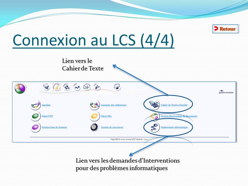 Connexion au LCS (4/4) Lien vers le Cahier de Texte