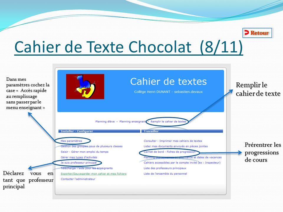 Cahier de Texte Chocolat (8/11)