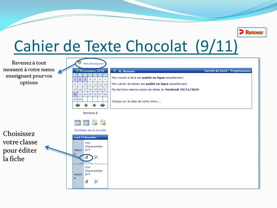 Cahier de Texte Chocolat (9/11)