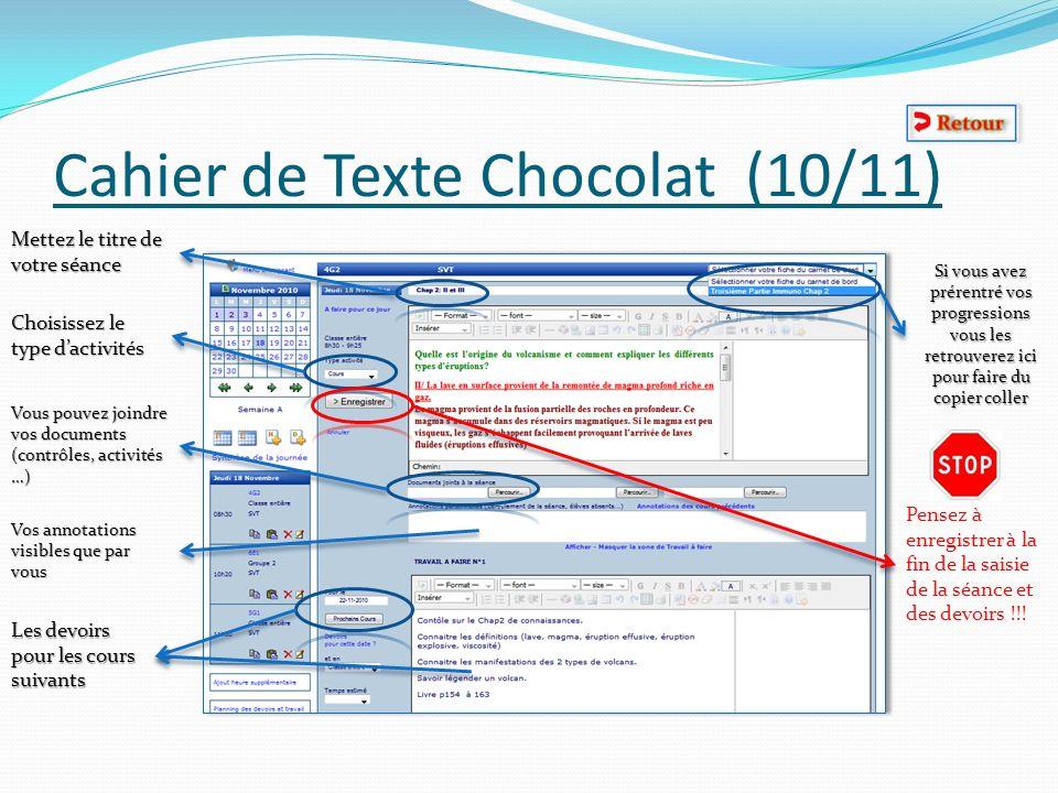 Cahier de Texte Chocolat (10/11)