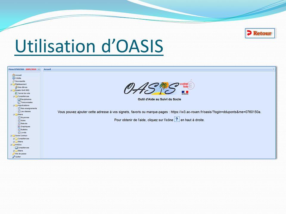 Utilisation d'OASIS