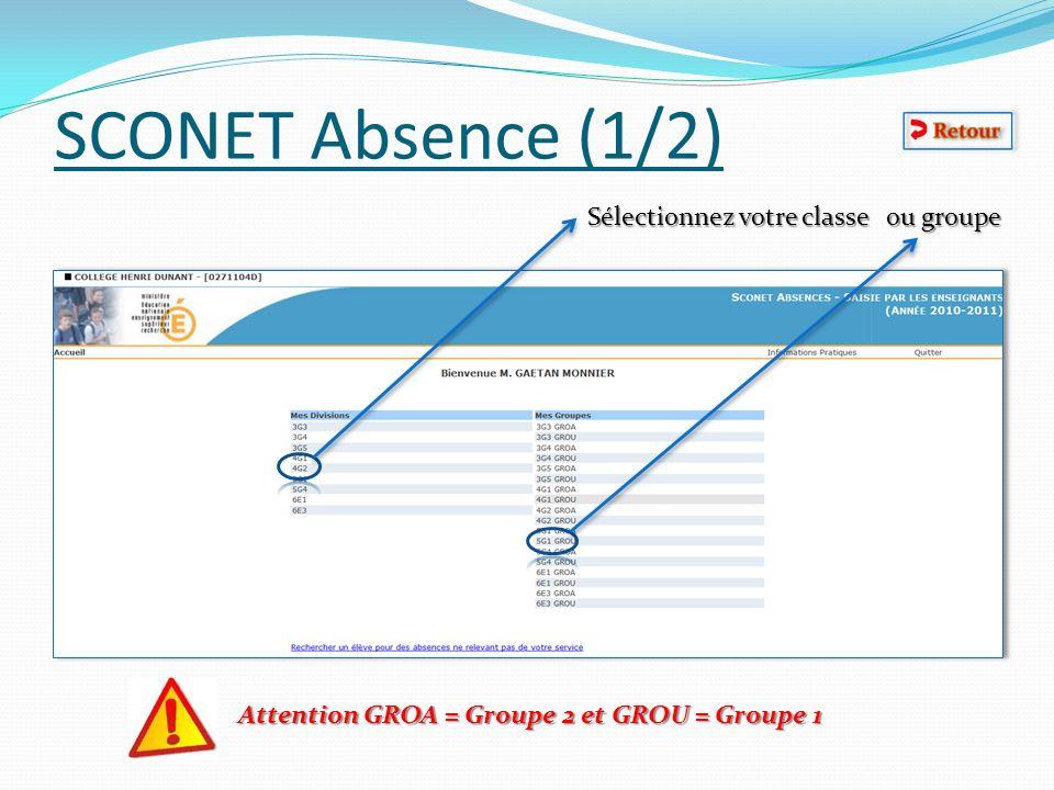 SCONET Absence (1/2) Sélectionnez votre classe ou groupe