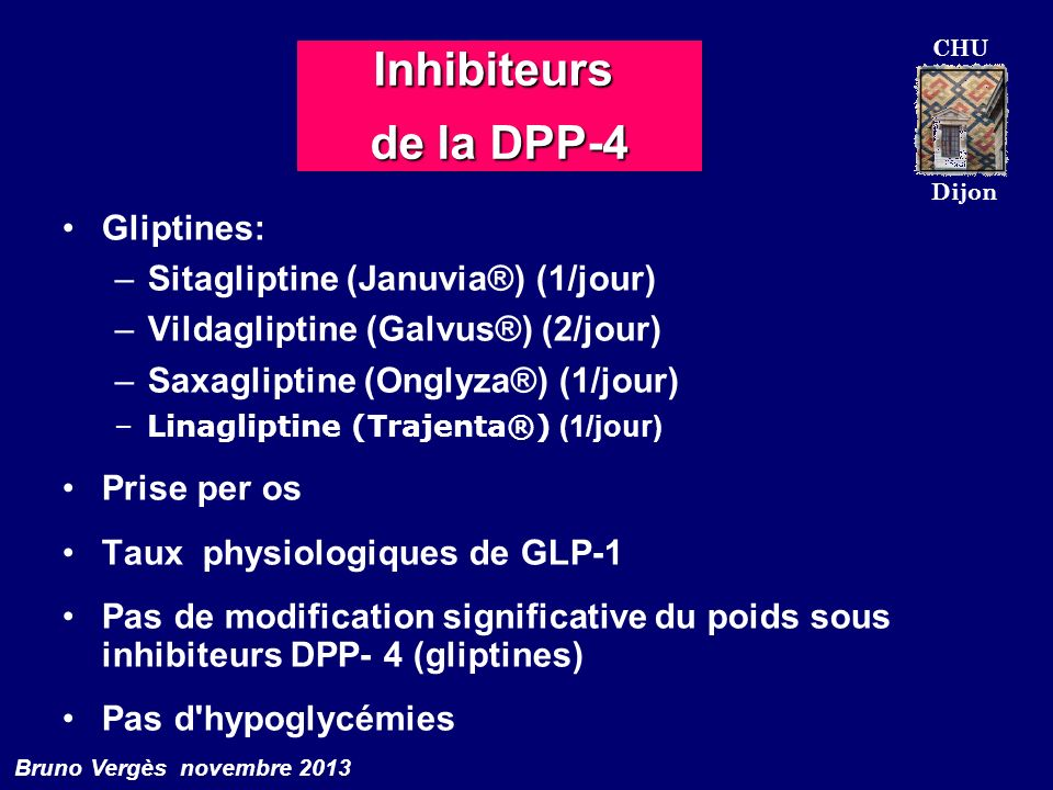 Inhibiteurs de la DPP-4 Gliptines: Sitagliptine (Januvia®) (1/jour)