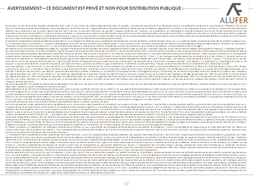 AVERTISSEMENT – CE DOCUMENT EST PRIVÉ ET NON POUR DISTRIBUTION PUBLIQUE :