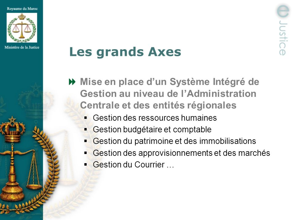 Les grands Axes Mise en place d'un Système Intégré de Gestion au niveau de l'Administration Centrale et des entités régionales.