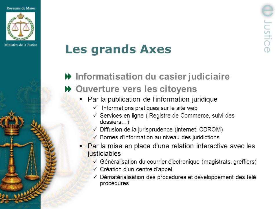 Les grands Axes Informatisation du casier judiciaire