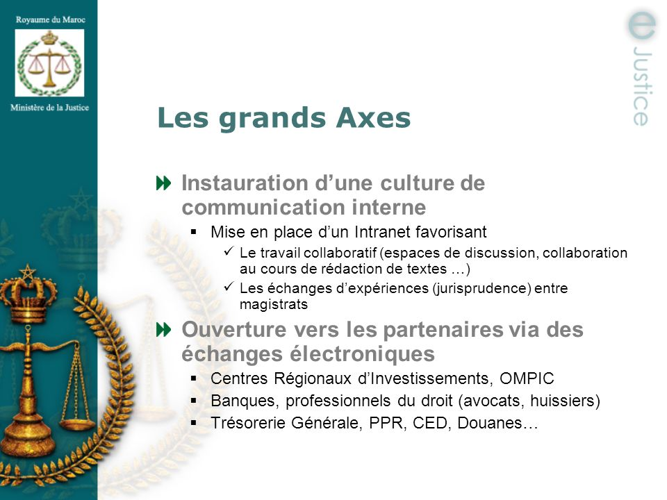 Les grands Axes Instauration d'une culture de communication interne