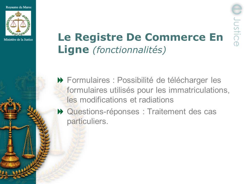 Le Registre De Commerce En Ligne (fonctionnalités)