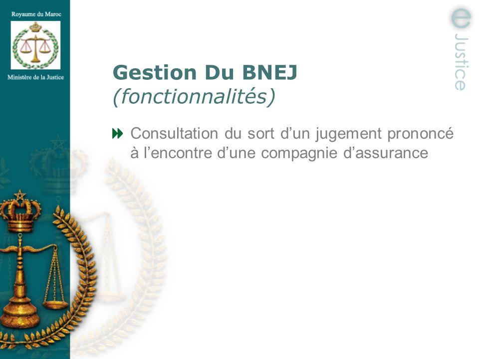 Gestion Du BNEJ (fonctionnalités)