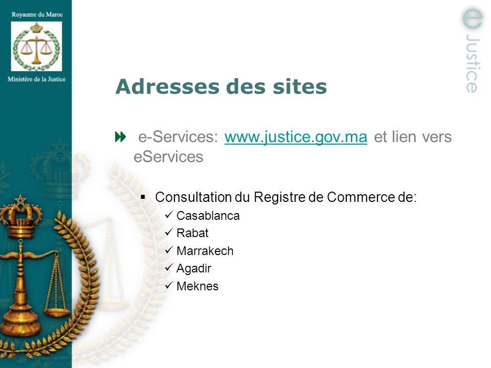Adresses des sites e-Services: www.justice.gov.ma et lien vers eServices. Consultation du Registre de Commerce de: