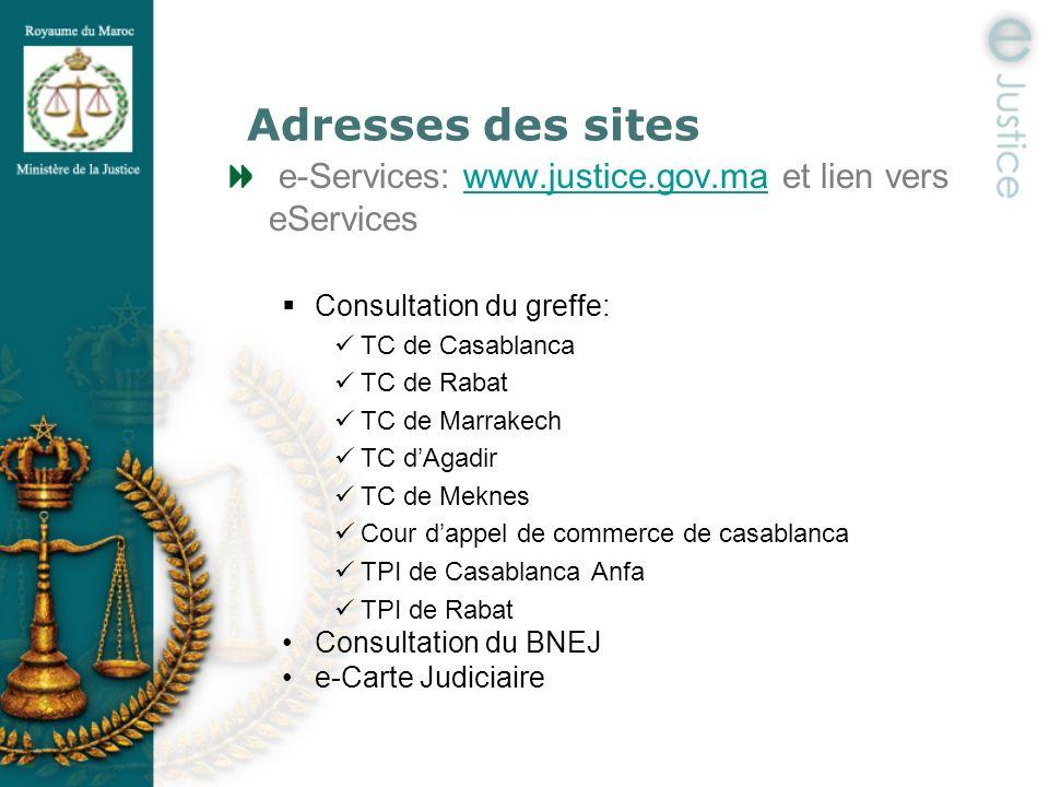 Adresses des sites e-Services: www.justice.gov.ma et lien vers eServices. Consultation du greffe: TC de Casablanca.