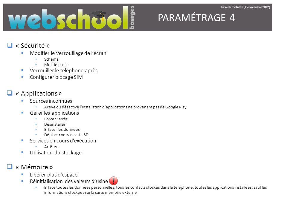 PARAMÉTRAGE 4 « Sécurité » « Applications » « Mémoire »