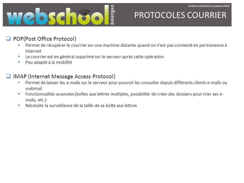 PROTOCOLES COURRIER POP(Post Office Protocol)