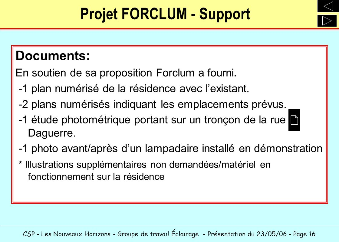 Projet FORCLUM - Support