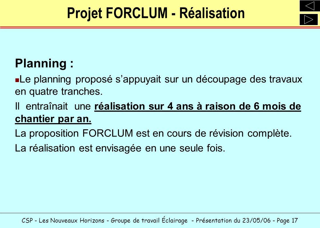 Projet FORCLUM - Réalisation