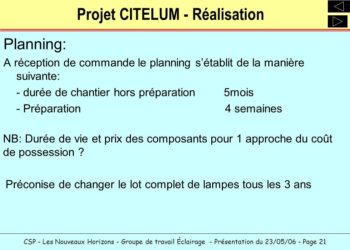 Projet CITELUM - Réalisation
