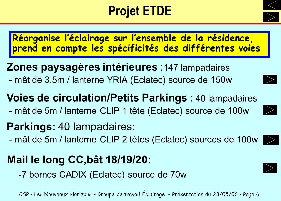 Projet ETDE Zones paysagères intérieures :147 lampadaires